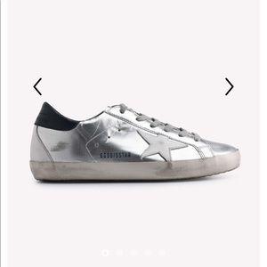 Golden Goose Superstars silver metallic sneakers